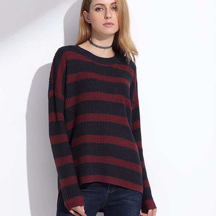 Long Knitted Sweater Pullover Women Spring Jumpers Striped Sweater Shirt Knitwear Pullover Female Tops-SWEATERS + CARDIGANS-SheSimplyShops