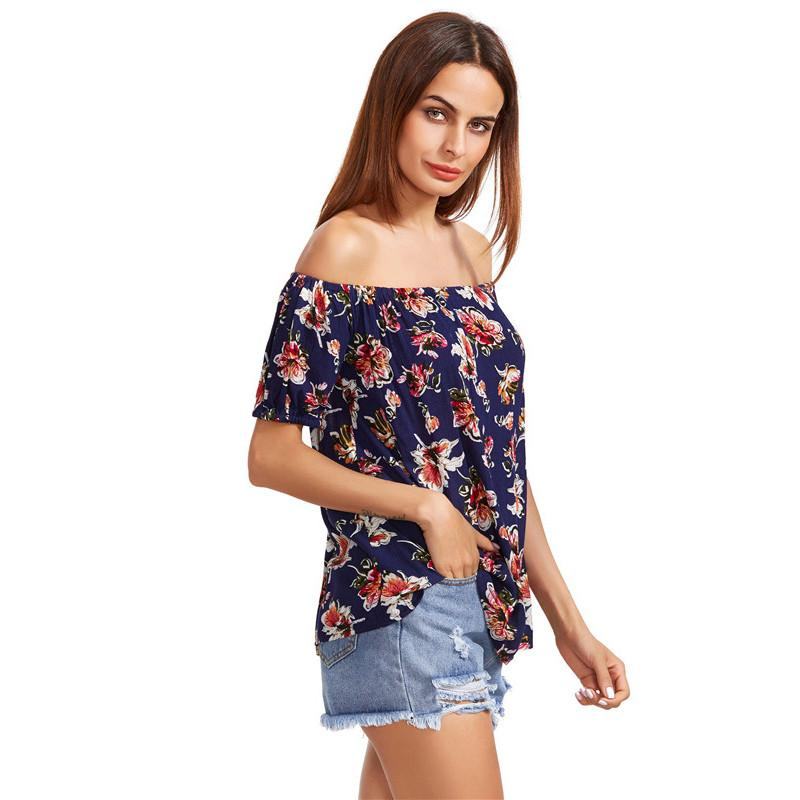 Off Shoulder Women Blouses Multicolor Floral Print Summer Tops Casual Brief Clothing Elegant Short Sleeve Blouse-Bottoms-SheSimplyShops