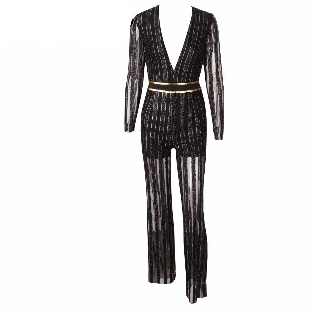 Flash Sequined Stripes Jumpsuits-ROMPERS & JUMPSUITS-SheSimplyShops