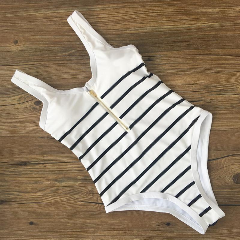 Sexy Striped Front Zipper High Cut Swimwear-SWIMWEAR-SheSimplyShops