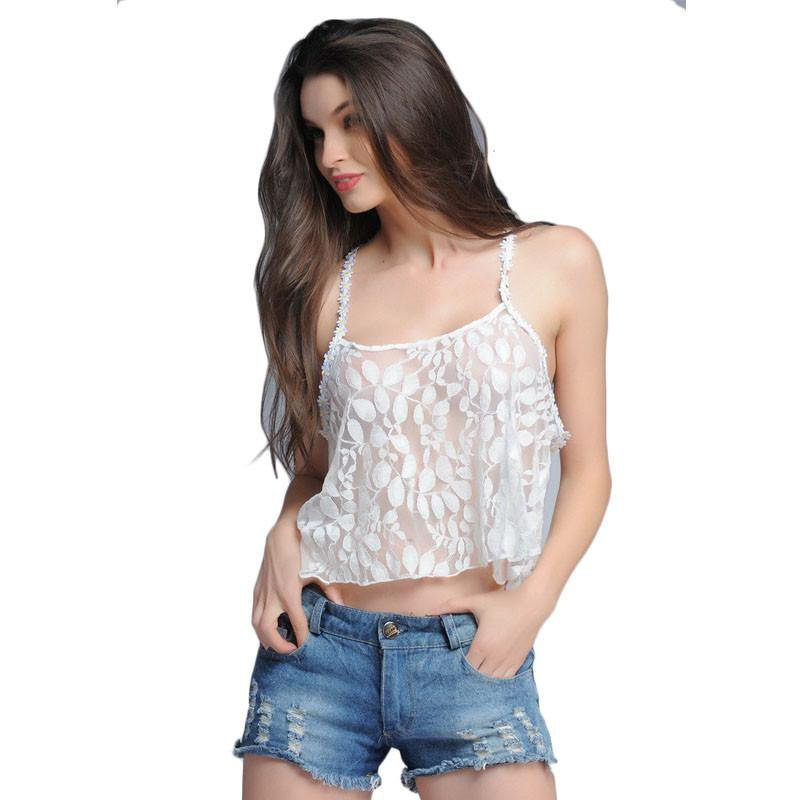 Lace Flower Summer feminines cropped Tops t shirts fashion transparent sexy casual vest clothed-SHIRTS-SheSimplyShops