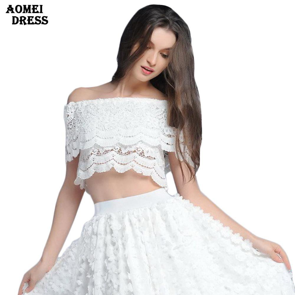 Summer Crochet Lace Tops Cropped Woman Camisole vest wear strapless off shoulder t shirt clothing-SHIRTS-SheSimplyShops