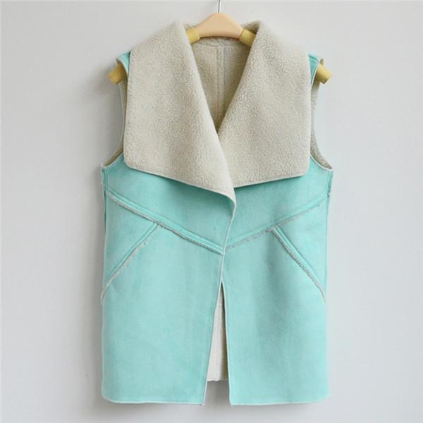Suede Turn-down Collar Vest-Coats & Jackets-SheSimplyShops