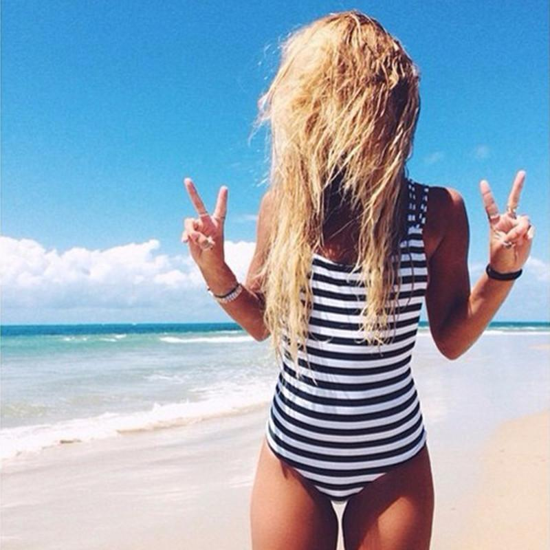 Striped Backless One Piece Swimsuit-SWIMWEAR-SheSimplyShops