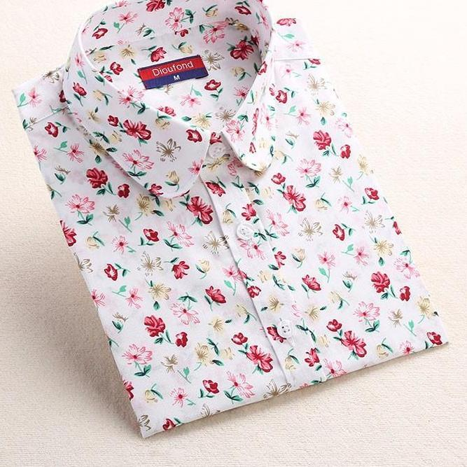 Spring White Mint Cute Floral Print Blouse Girls Peter Pan Collar Long Sleeve Women Shirts Blouses-Blouse-SheSimplyShops