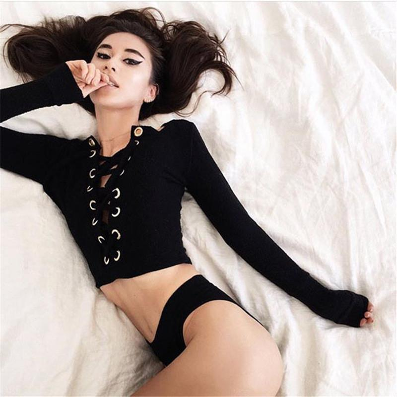 Women Lace Up Crop Tops Long Sleeve Casual T-shirts-SHIRTS-SheSimplyShops