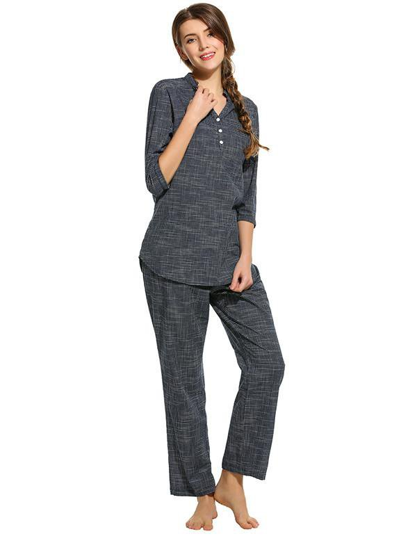 Fashion Women Cotton Pajama Set Casual nightgown Plaid V-Neck 3/4 Sleeve Nightskirt Pants Pajamas Spring Homewear-SKIRTS-SheSimplyShops