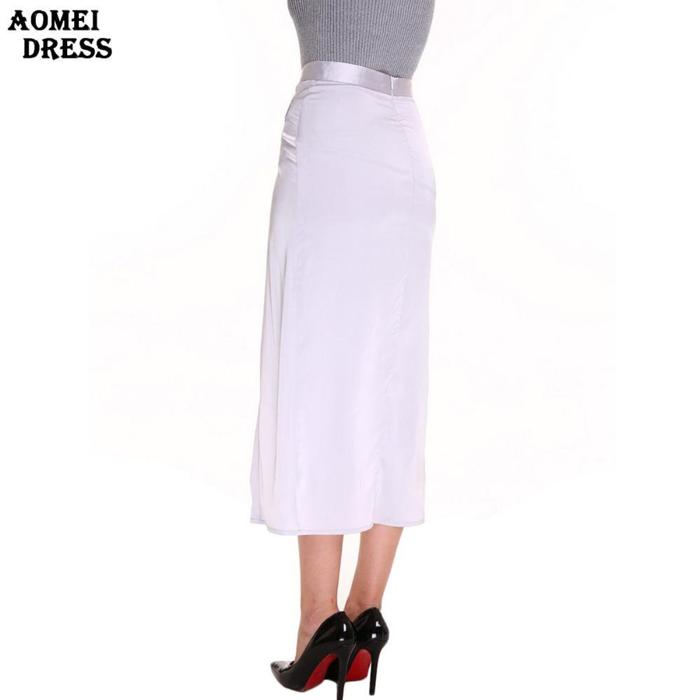Women Fashion Slim Irregular Artificial Silk Skirts Pencil Split Slim Female Summer Fashion Color Skirt Jupe Clothing-Dress-SheSimplyShops
