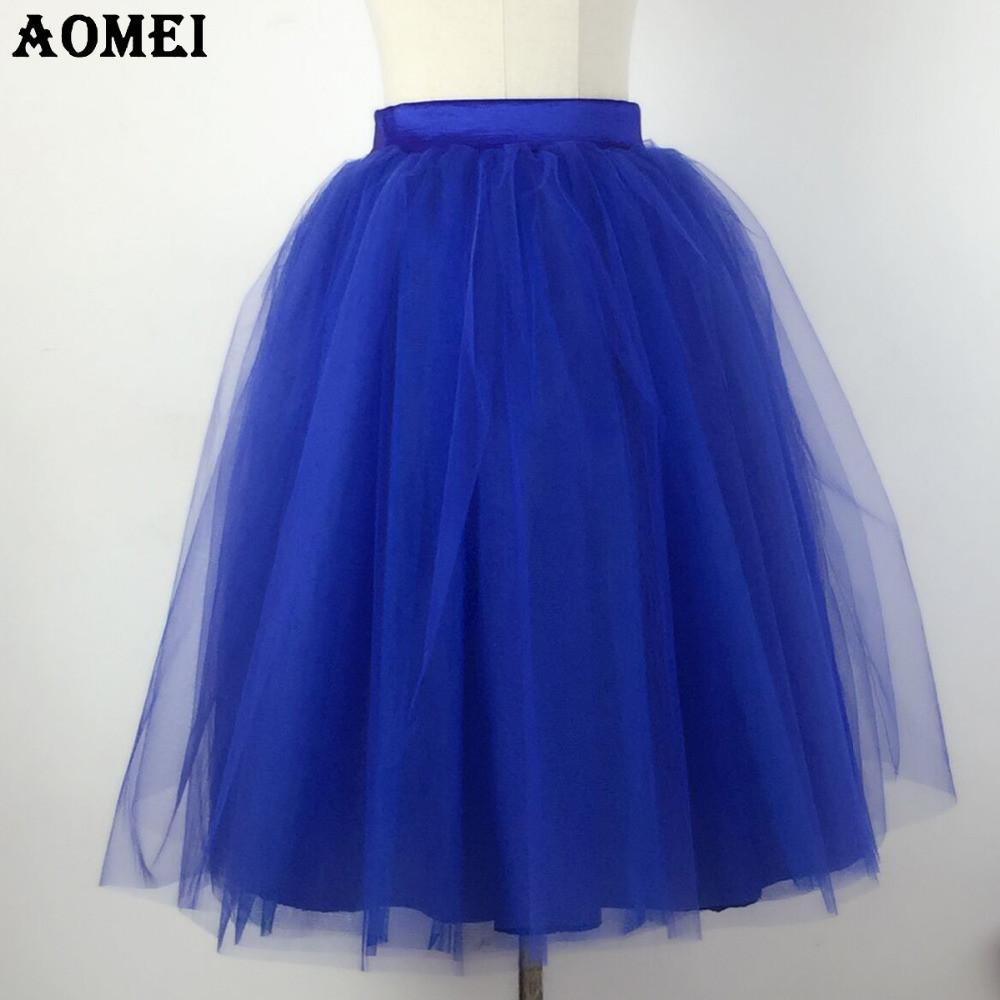 Spring Women Lolita Tulle Skirts 6 Layers Blue Color Girls Cute Dancewear Tutu Skirt-Dress-SheSimplyShops