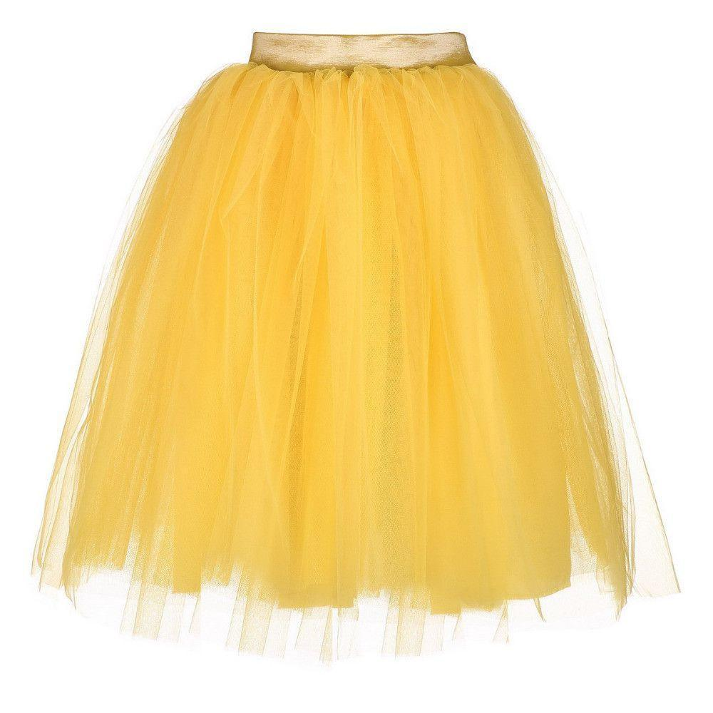 6 Layers Women Yellow Color Spring Skirts Mesh with Side Invisible Zipper High Waist Cute Skirt Petticoats-Dress-SheSimplyShops