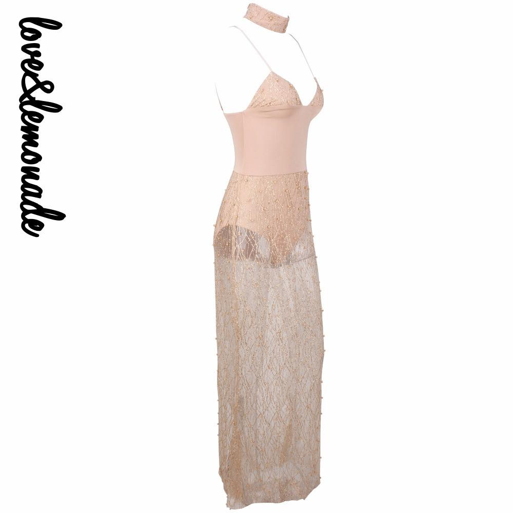 Sexy Gold Beads Mesh Maxi Dress-Dress-SheSimplyShops