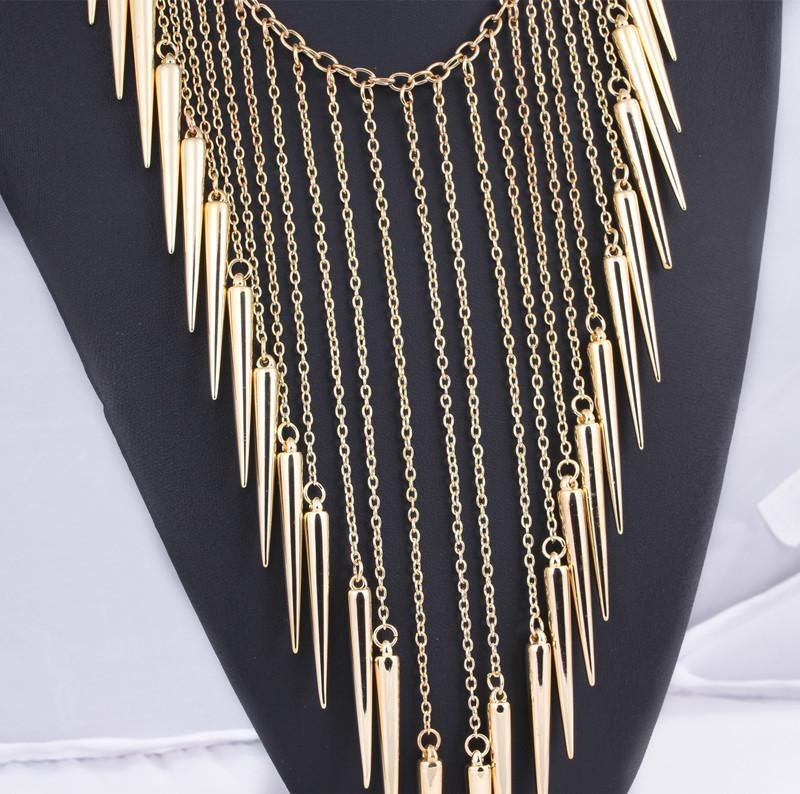 new Europe and American fashion punk rivet power metal tassel collar long gold vintage chain choker necklaces for women-NECKLACES-SheSimplyShops