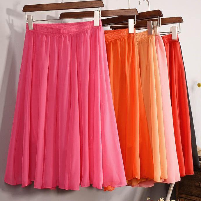 Women High Waist Chiffon Pleated Midi Skirt-Dress-SheSimplyShops