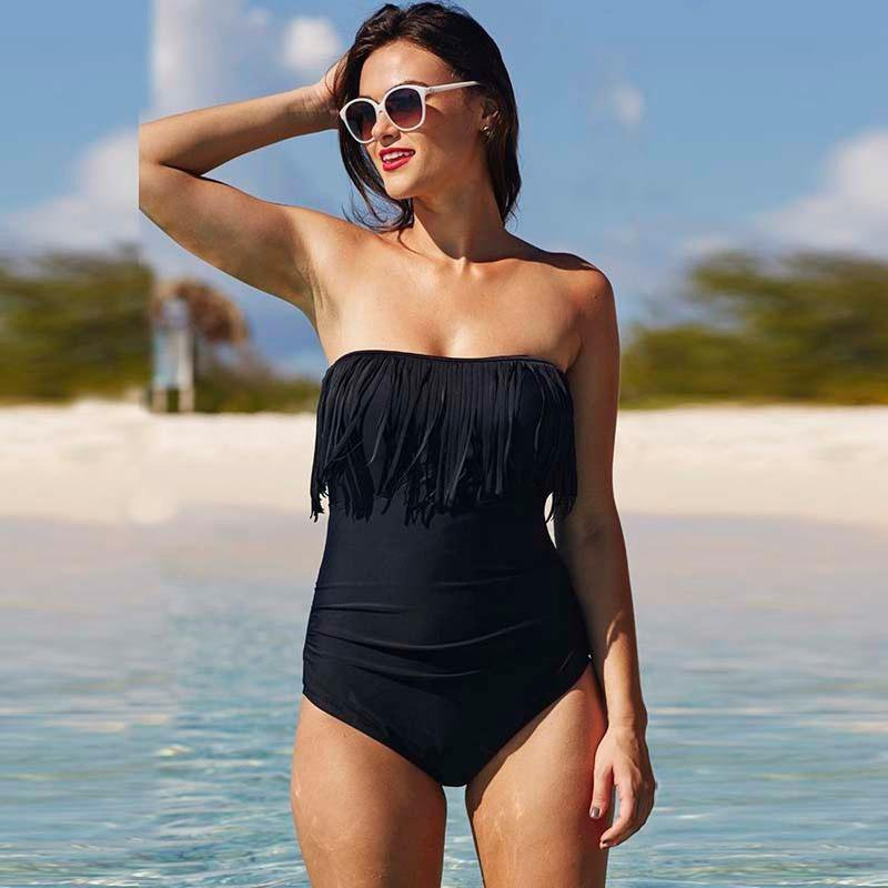 High Waist Tassel Push Up One Piece Swimwear-HATS-SheSimplyShops
