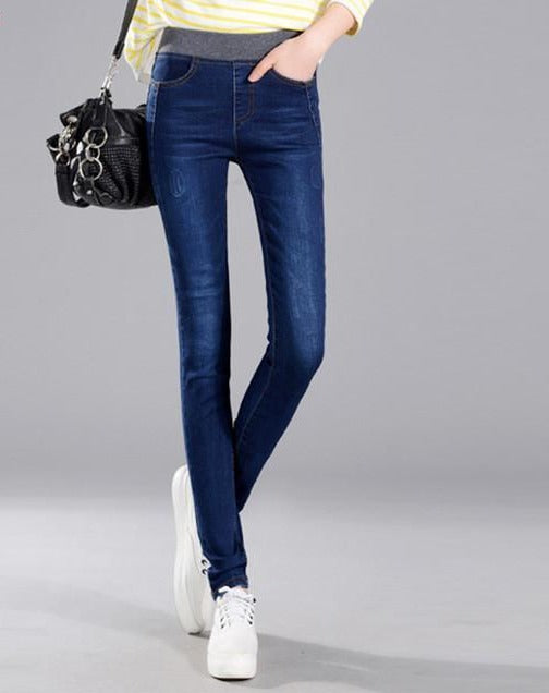 autumn women jeans elastic waist pants female stretchy high waist jeans femme blue and black jeans woman-JEANS-SheSimplyShops