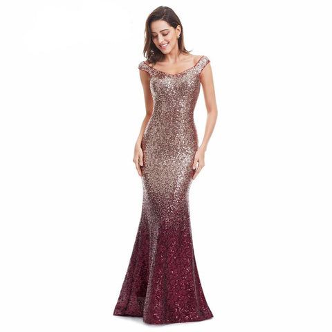 Elegant V-Neck Sequin Mermaid Maxi Evening Dress-Clothes, Dresses-SheSimplyShops