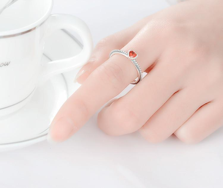 Stylish Sterling Ring Love Heart Romantic Ring-JEWELRY-SheSimplyShops