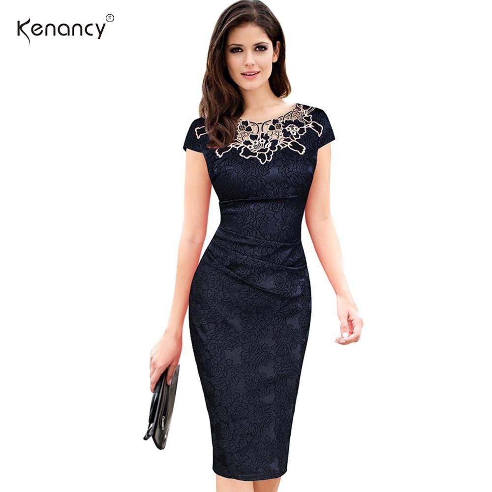 Women embroidery Elegant Vintage Dress Jacquard Dobby Fabric Hollow out Ruched Pencil Office Bodycon Evening Party-Dress-SheSimplyShops