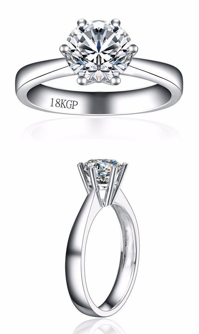 Gold Ring With 18KGP Stamp Real White Gold Filled Ring Inlay 8mm 2 Carat CZ Diamond Wedding Rings For Women YH099-JEWELRY-SheSimplyShops