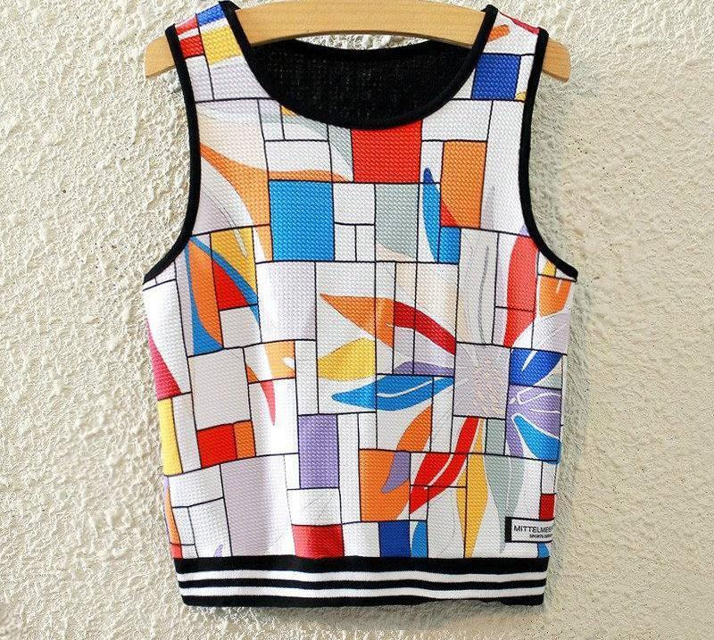 Sleeveless Sky Print Casual Crop Top-Tops-SheSimplyShops