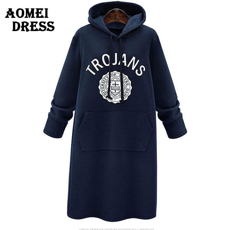 Spring Long Hoodies for Women Fashion Girls Preppy Style Casual Sweater shirts Clothing Dark Blue Gray Color Print Letter-HOODIES-SheSimplyShops