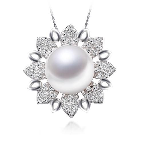 Luxury Flower Pendan Big White Pearl Pendant Necklace Silver Pendant-NECKLACES-SheSimplyShops