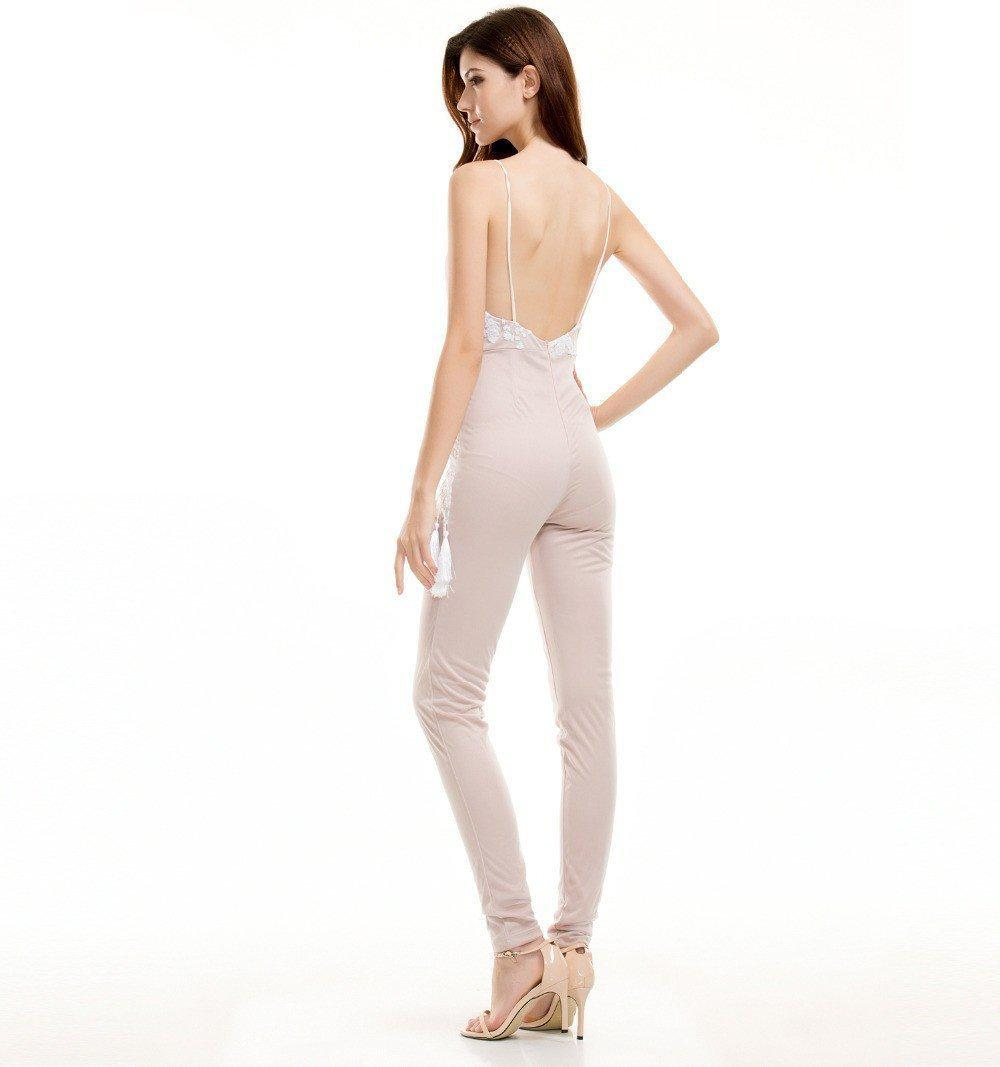 Sexy V-Neck White Sequined Tassels Jumpsuits-ROMPERS & JUMPSUITS-SheSimplyShops