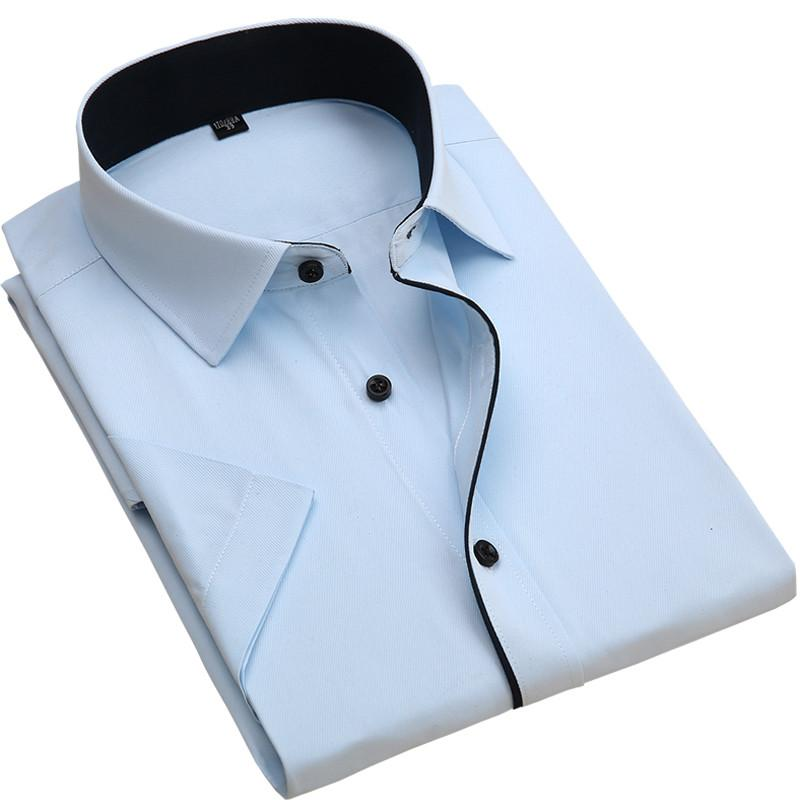Short sleeve twill turn-down collar slim fit shirts-Dress-SheSimplyShops