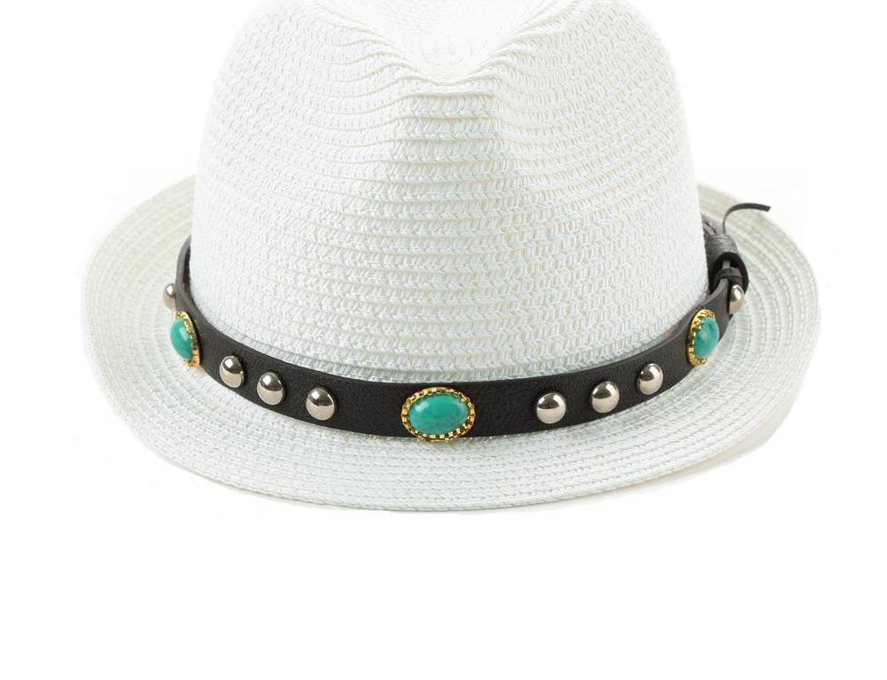 Summer Hats For Women Flower Beads Wide Brimmed Jazz Panama Hat Feminine Elegant Beach Sun Straw Caps White-HATS-SheSimplyShops