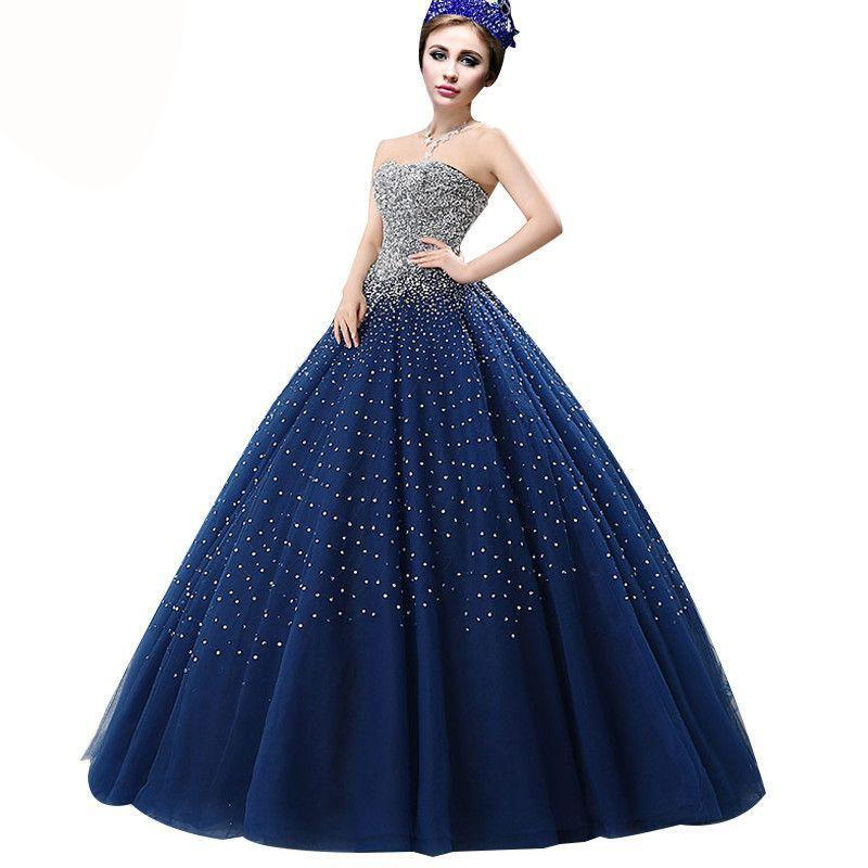 Custom Party Evening Dress Navy Blue Luxury Crystal Beading Strapless Sexy Prom Dress-Dress-SheSimplyShops