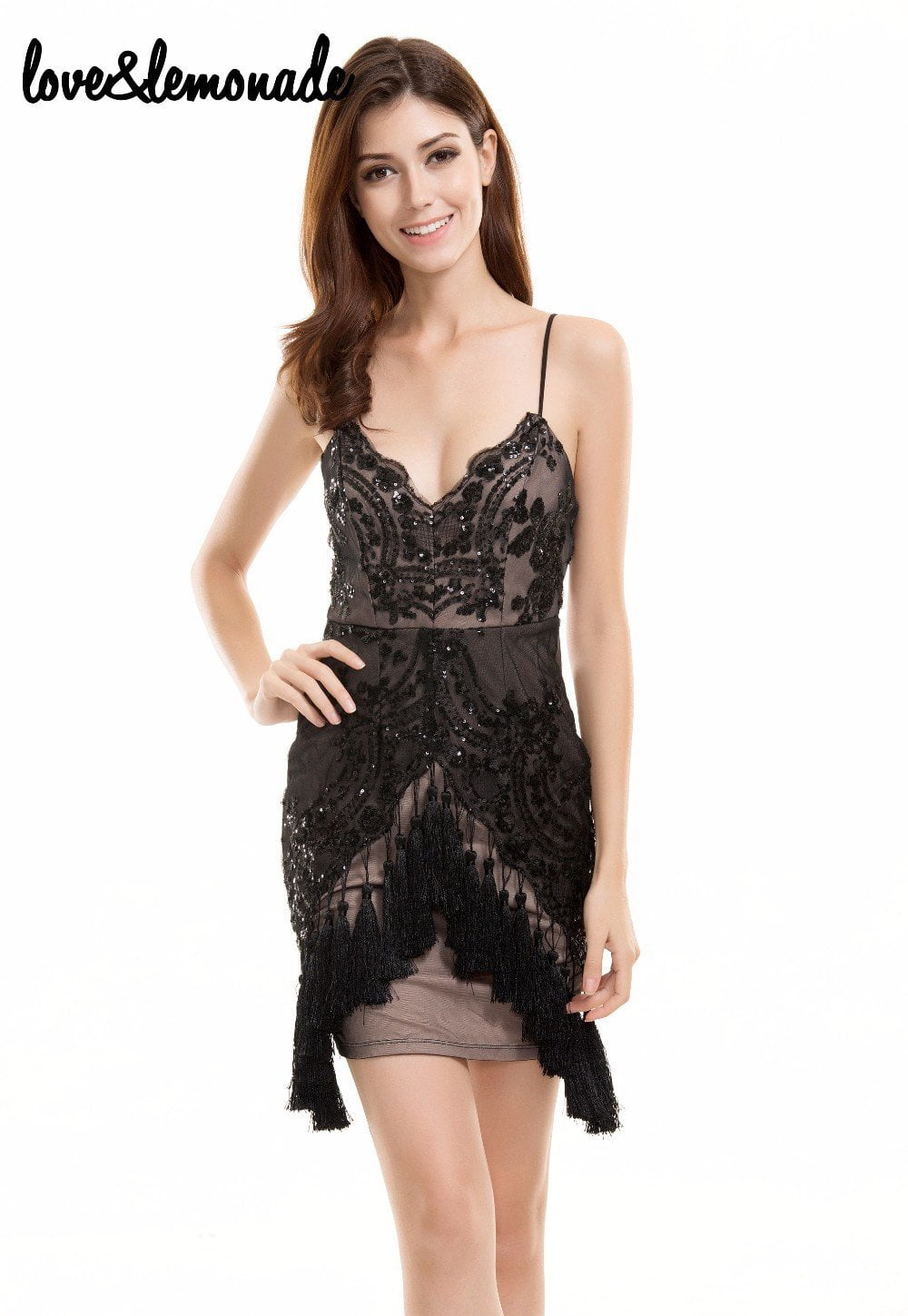 Fringed Black Sequined V-Neck Party Dress-Dress-SheSimplyShops