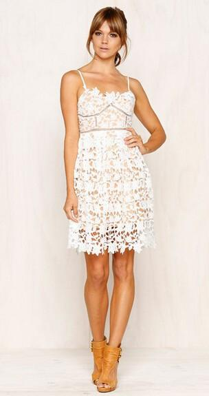 V-Neck Lace Stitching White Tutu Dress-Dress-SheSimplyShops