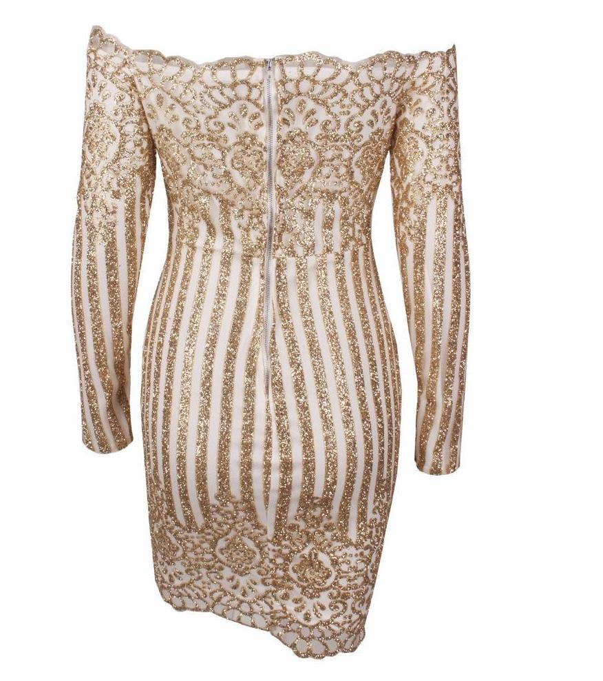 Gold Beads Striped Bodycon Dress-Dress-SheSimplyShops