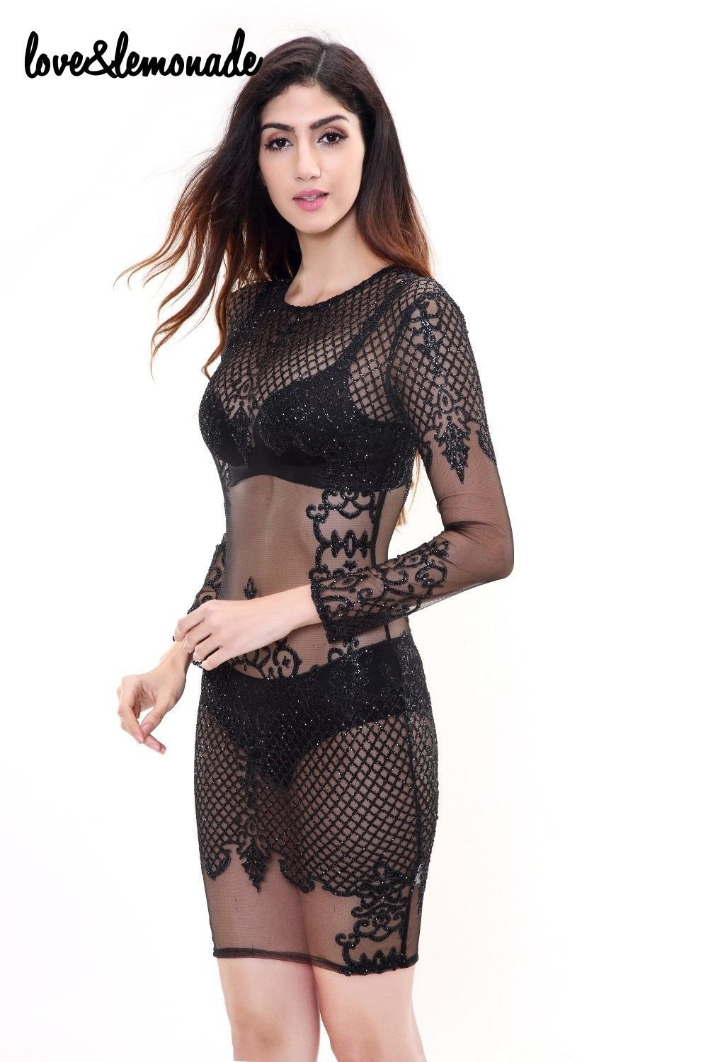 Black Geometry Sexy Sequined Party Dress No Lining-Dress-SheSimplyShops
