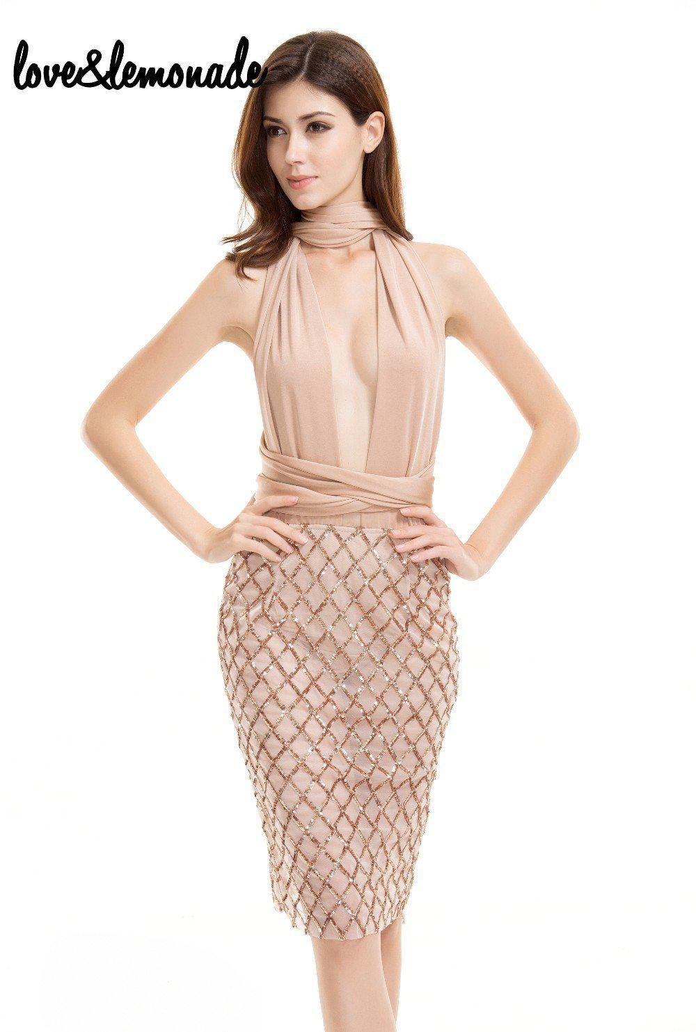 Sexy Sequined Changeable Straps Party Dress Nude-Dress-SheSimplyShops