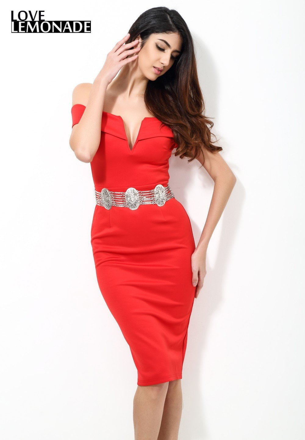 Slim V-Neck Knee-Length Strapless Party Dress No Belt-Dress-SheSimplyShops
