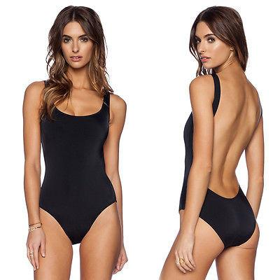 Womens Sexy Black White Backless One Piece Swimwear High Cut Backless Swimsuit Bikini-SWIMWEAR-SheSimplyShops