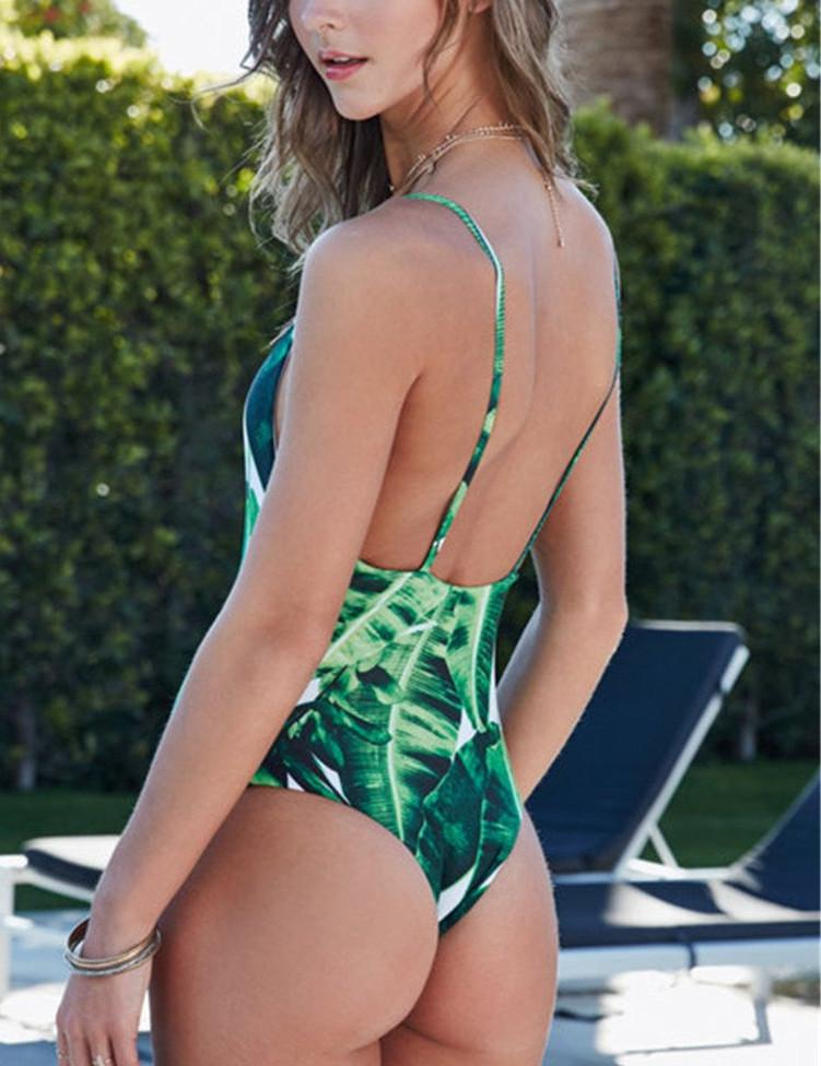 Leaf Print Padded One-Piece Bathing Suit-Bottoms-SheSimplyShops