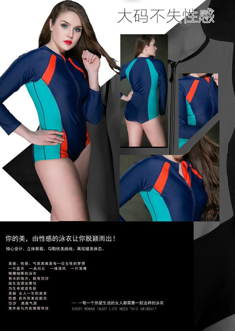 New Summer Beach High quality Solid Sexy Women One Pieces Swimwear with Long Sleeves Surfing Swimsuit No pad Bathing Suit-SWIMWEAR-SheSimplyShops