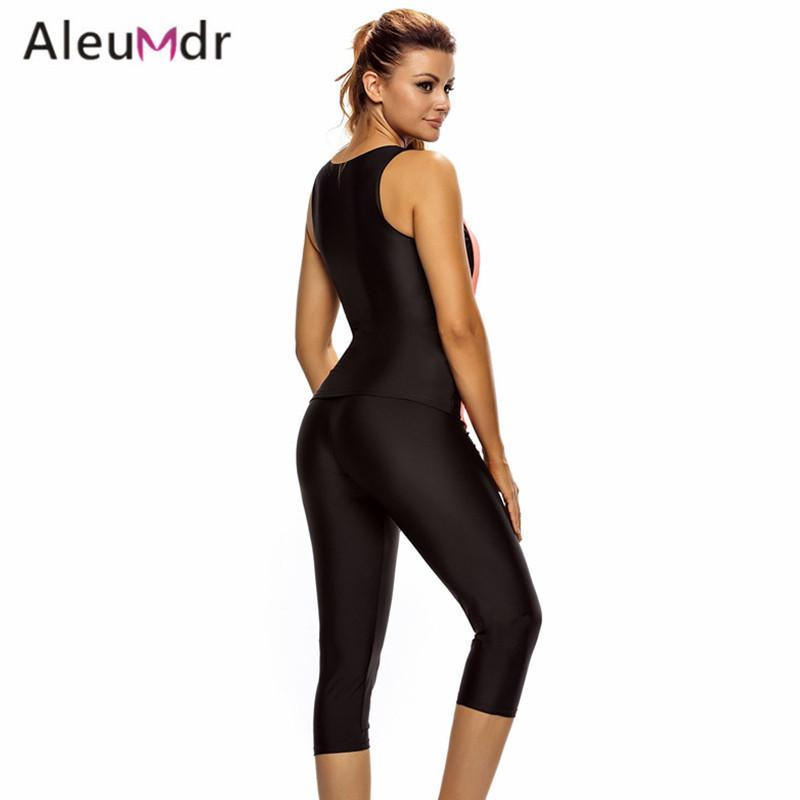 Surfing Unitard Swimsuits For Women Sleeveless Top And Cropped Pants Two Piece Bathing Suit Sea side Wetsuit-PANTS-SheSimplyShops