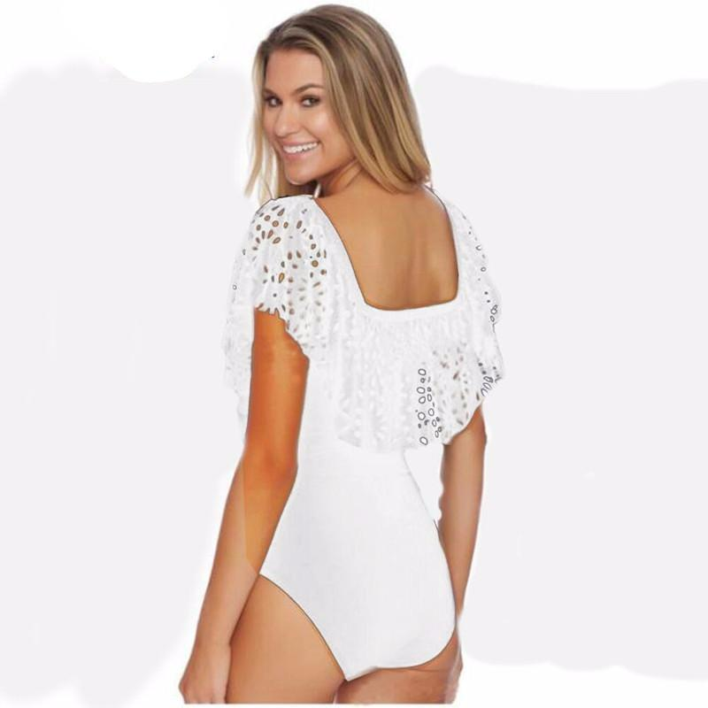 Off shoulder scallop ruffled one piece swimwear-SWIMWEAR-SheSimplyShops