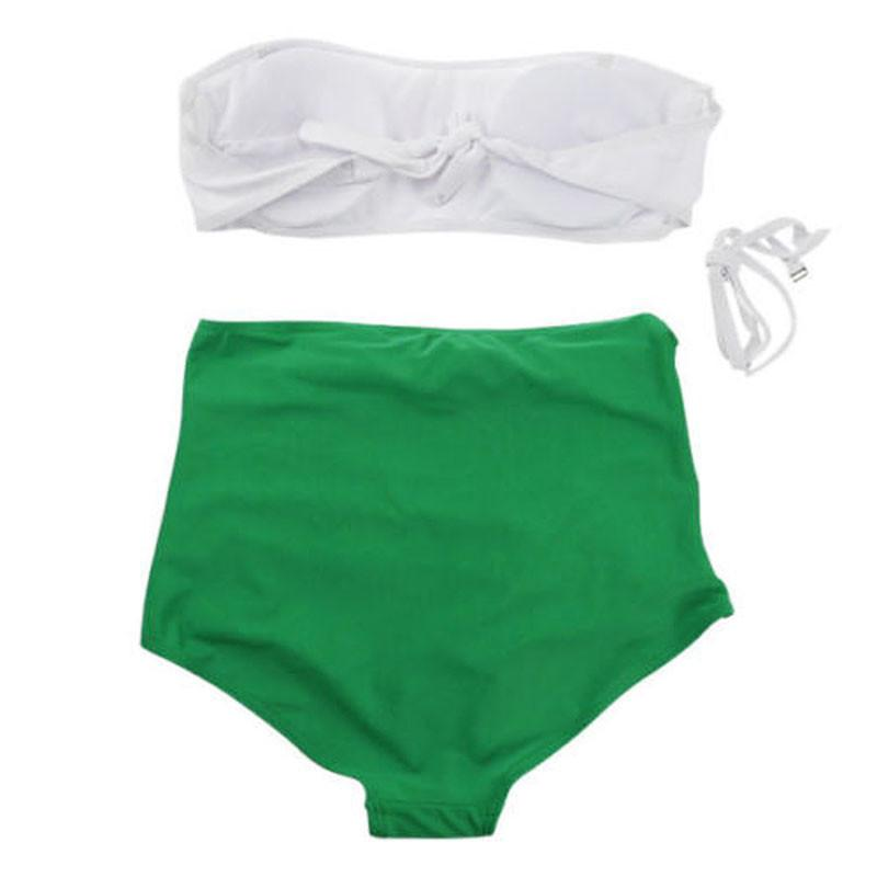 Women's Sexy Bikini Set Swimsuit Push-up Padded Bandeau White Top & High Green Waist Bottom-Bottoms-SheSimplyShops
