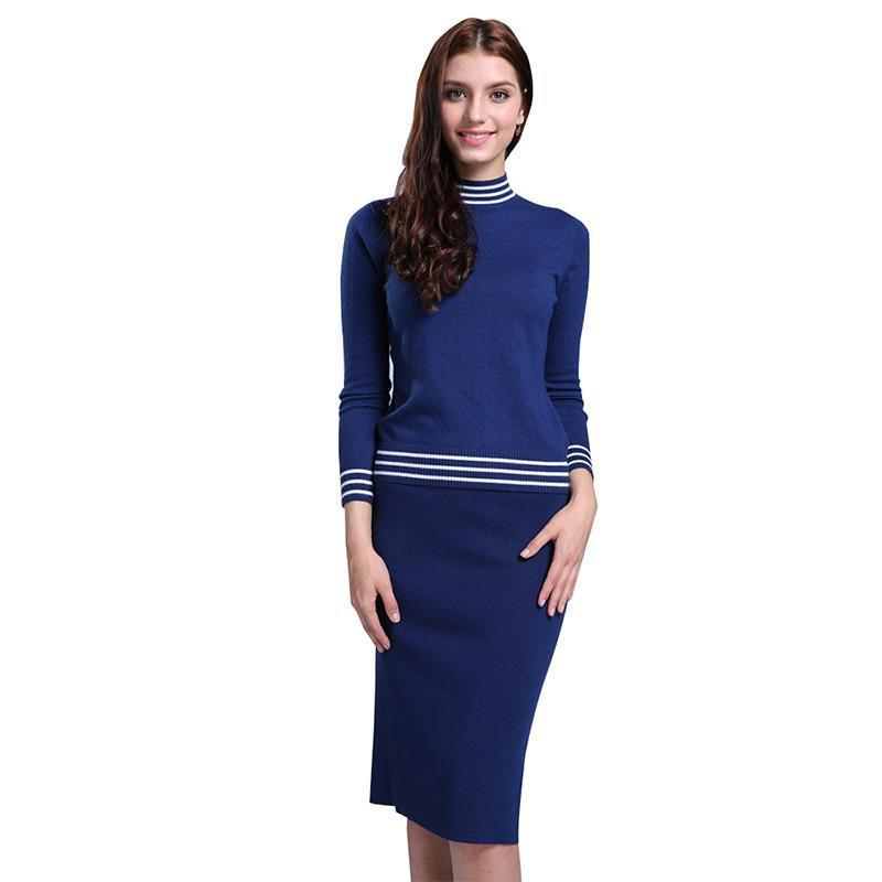 Women Striped Design Wool Pullover +Knitted Skirt/Set O-Neck Warm Soft Cashmere Blend Knitwear Slim Sweater-SKIRTS-SheSimplyShops