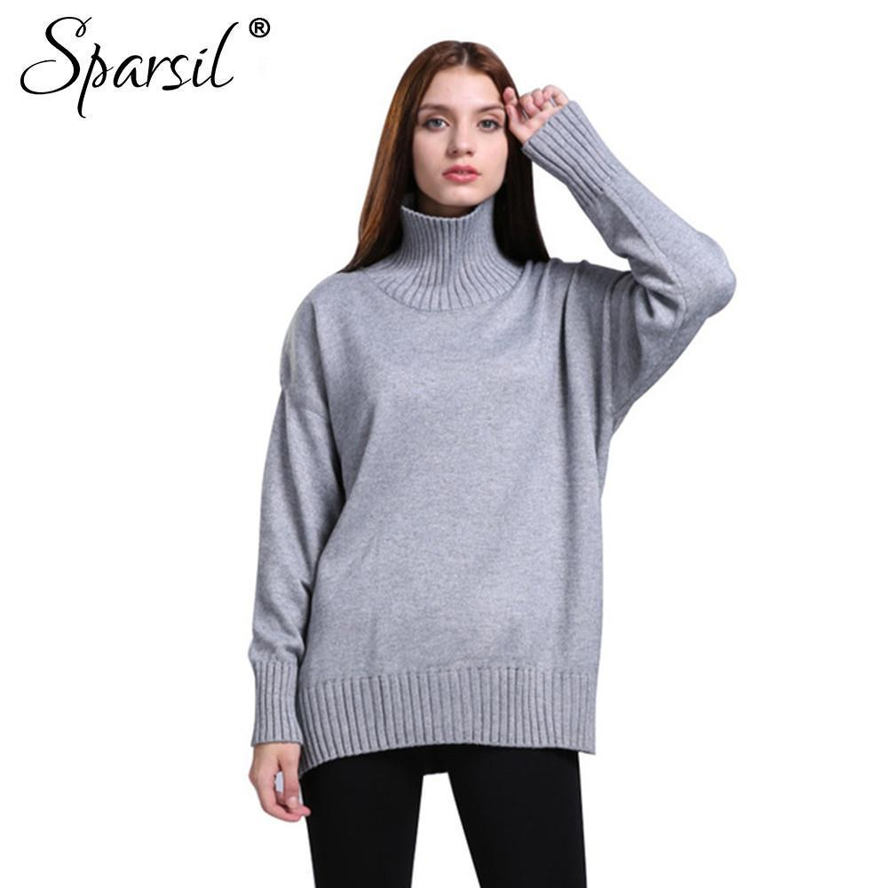 Women Autumn Turtleneck Collar Cashmere Blend Loose Sweater Fashion Lady Long Sleeve Knitted Thick Pullover Knitwear-SWEATERS + CARDIGANS-SheSimplyShops