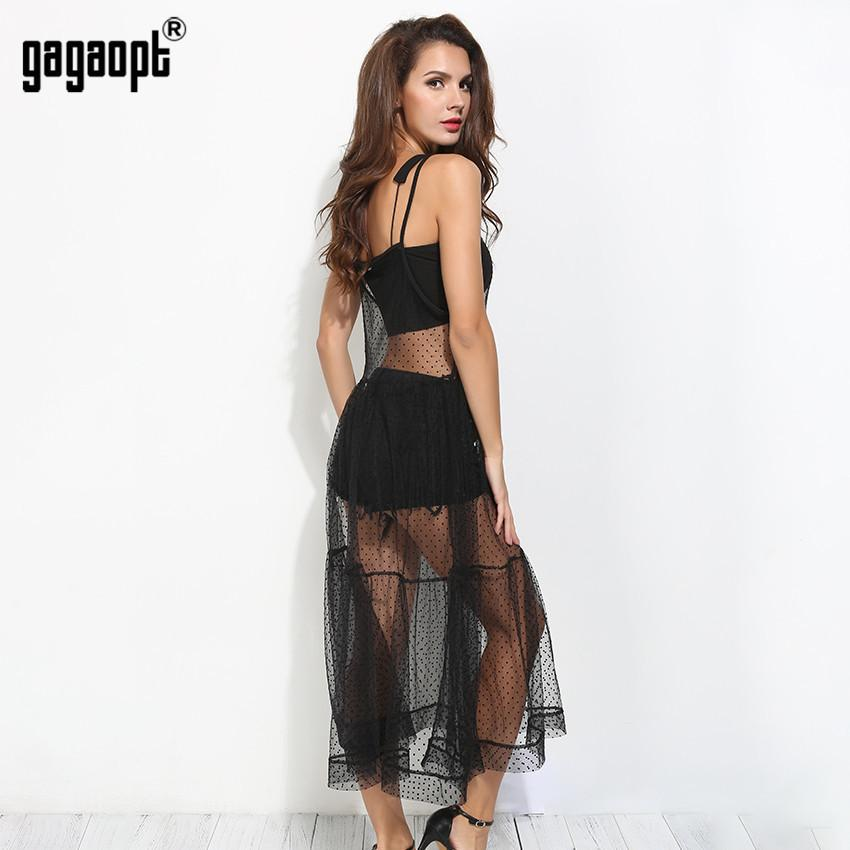 Summer Women Sexy See-Through Perspective Mesh Mid Loose Casual Black Dot Vestidos Night Club Robes-Dress-SheSimplyShops