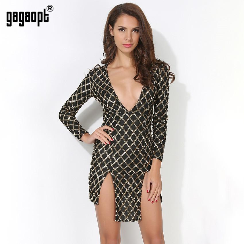Women Dresses Sexy Deep V-neck Mini Split Dress Grid Sequins Pattern Sexy Vintage Harajuku Dresses-Dress-SheSimplyShops