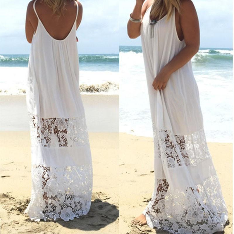 Lace Patchwork Casual Loose Maxi Dress-Dress-SheSimplyShops
