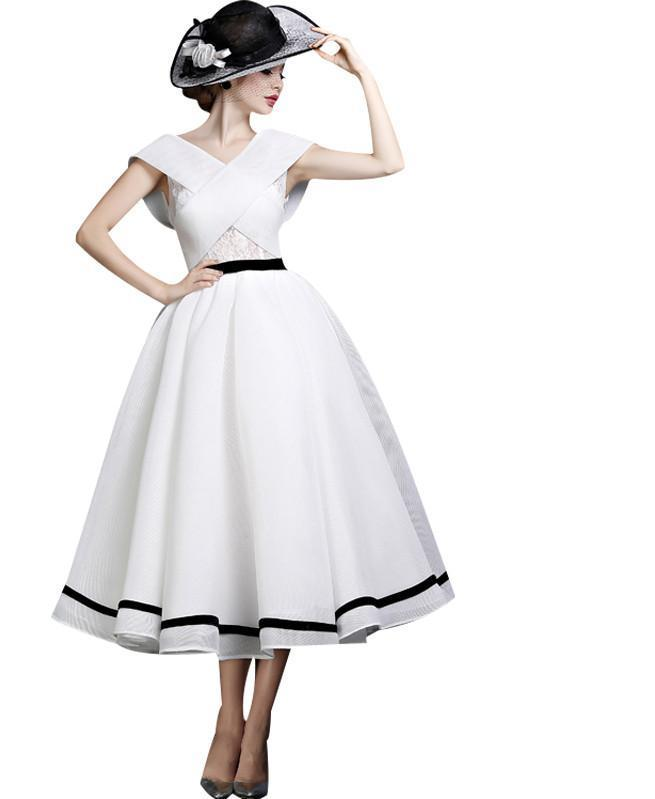 New Fashion Banquet Elegant Lady White Evening Dress Retro Palace A-line Tea-length Party Gown Custom Formal Dresses-Dress-SheSimplyShops