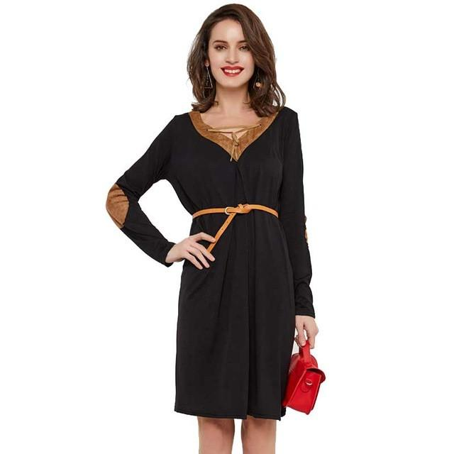 Spring Knee-Length Dresses Women Sexy V-Neck Loose Mujer Long Sleeve Patchwork Ladies Dresses-Dress-SheSimplyShops