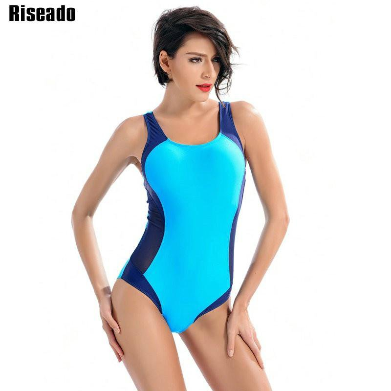 New Sport One Piece Swimsuits Swimwear Women Patchwork Backless Sexy Bathing Suits-ACTIVEWEAR-SheSimplyShops